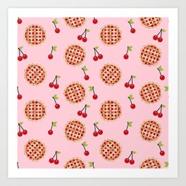 Pies trendy food fight apparel and gifts pink Art Print
