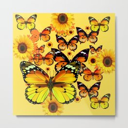 YELLOW COLOR GOLDEN BUTTERFLIES & SUNFLOWERS Metal Print