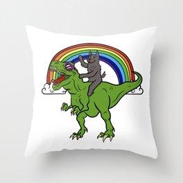 Scottish Terrier Riding T-Rex Dinosaur  Throw Pillow
