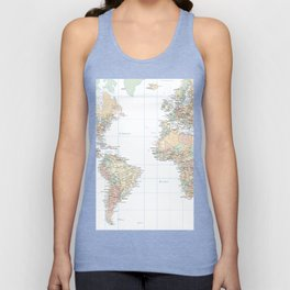 Clear World Map Unisex Tanktop