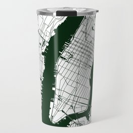 New York City White on Green Street Map Travel Mug