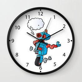 robot on wheel . Wall Clock