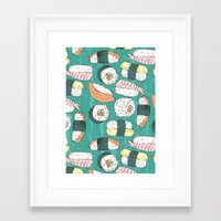 sushi Framed Art Prints featuring Sushi by Abi Woodhouse