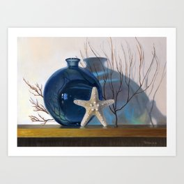 Still life with a blue vase and a starfish Art Print