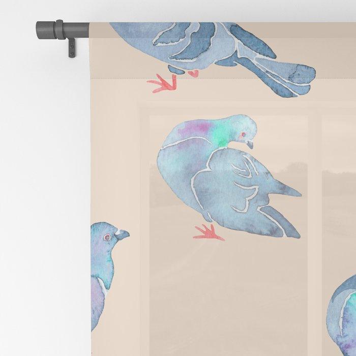 Flock of Pigeons Sheer Curtain