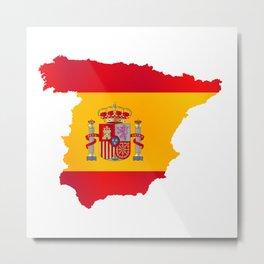Silhouette Flag Map Of Spain Metal Print
