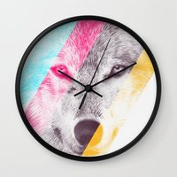 eric fan Wall Clocks featuring Wild 2 by Eric Fan & Garima Dhawan by Garima Dhawan