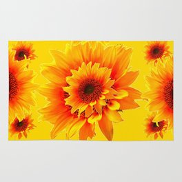 Golden Yellow Abstracted Red Sunflower Patterns Rug