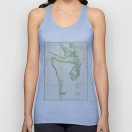 Vintage Map of Coastal Washington State (1857) Unisex Tank Top