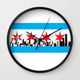 New Chicago Flag Wall Clock