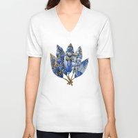 gatsby V-neck T-shirts featuring Gatsby Five Feathers by Jennifer Lambein