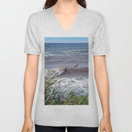 Waves Rolling up the Beach Unisex V-Neck