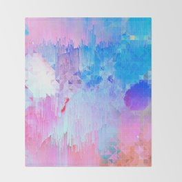 Abstract Candy Glitch - Pink, Blue and Ultra violet #abstractart #glitch Throw Blanket