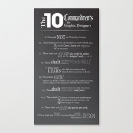 The 10 Commandments for Graphic Designers Canvas Print