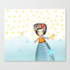 Frida and Ducks Yellow Polka Dots Canvas Print