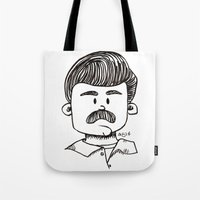 ron swanson Tote Bags featuring Ron Swanson by art by arielle