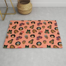 Black Hair Magic (Coral) Rug