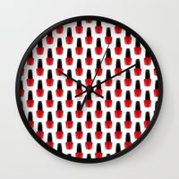 nail polish Wall Clocks featuring Red Nail Polish by lilacattack