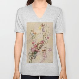 """Three Spirits Mad With Joy"" Art by Warwick Goble Unisex V-Neck"
