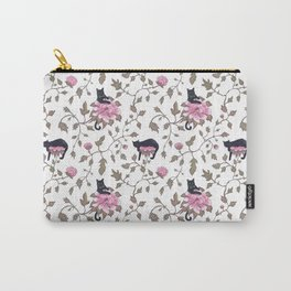 Black cats and paeony flowers Carry-All Pouch