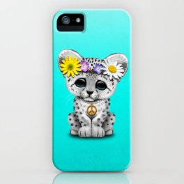 Cute Baby Snow Leopard Cub Hippie iPhone Case