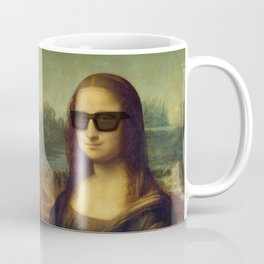 Hipster Mona Lisa in her Hipster Shades Coffee Mug