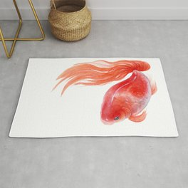 Goldfish, Red Goldfish, Gold fish, Watercolor painting by Suisai Genki Rug