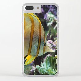 Yellow Longnose Butterfly Fish Clear iPhone Case
