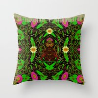 grafitti Throw Pillows featuring Lady Pandas Jungle grafitti by Pepita Selles