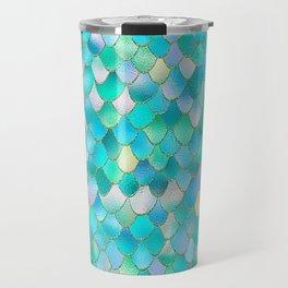 Trendy Ocean Blue Watercolor Glitter Mermaid Scales Travel Mug