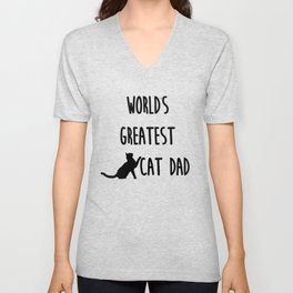 World's Greatest Cat Dad Unisex V-Neck
