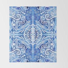 Batik Blue and White Mandala Throw Blanket