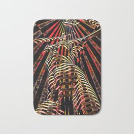 7068-KMA Abstract Feminine Spirit Zebra Striped Woman Powerful Colorful Fine Art Nude Bath Mat
