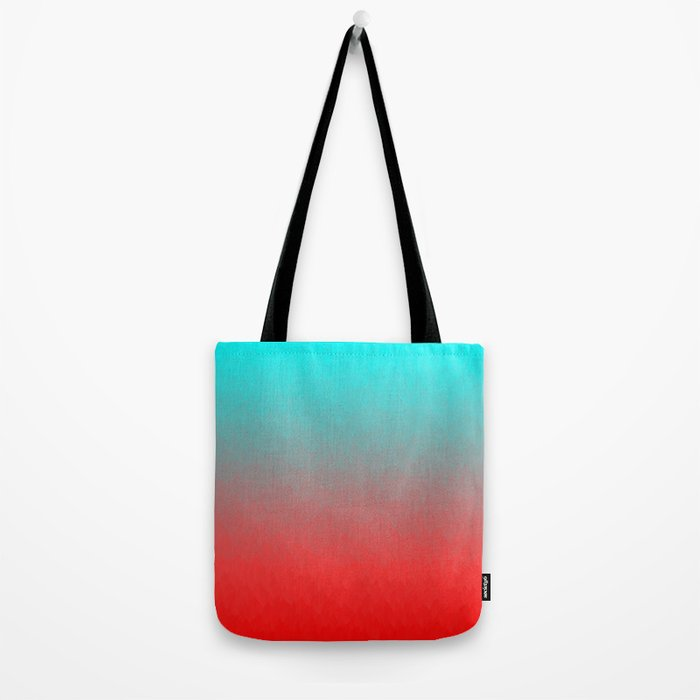 Cyan to red ombre flames Miami Sunset Tote Bag
