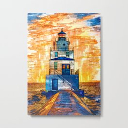 Fiery Lighthouse Sunset USA - For Lighthouse Lovers Metal Print