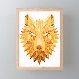 Orange Tribal Fire Geometric Wolf Head Framed Mini Art Print
