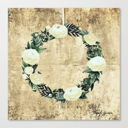 Wreath #White Flowers #Royal collection Canvas Print