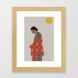 woman in sunlight minimalist Framed Art Print