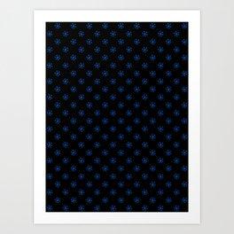 Brandeis Blue on Black Snowflakes Art Print