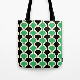 Classic Fan or Scallop Pattern 447 Black and Green Tote Bag