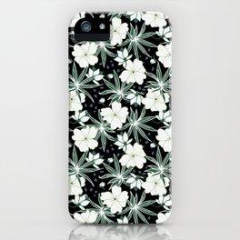 Hawaii floral on dark ground iPhone Case