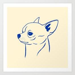 Chihuahua (Beige and Blue) Art Print