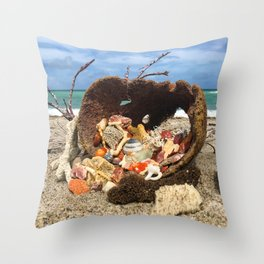 Sea Sponge Full of Shells Throw Pillow