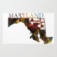 maryland Area & Throw Rugs featuring Maryland by david zobel