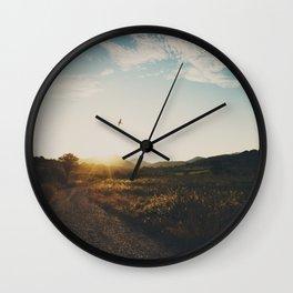 A bird in flight & a vineyard at sunset Wall Clock