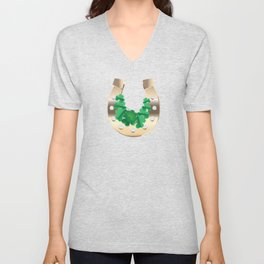 Gold horseshoe with clover Unisex V-Neck