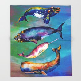 Whale Pyramid #3 - Watercolor Whales Throw Blanket