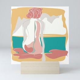 Beautiful girl portrait with scene warm colors Mini Art Print