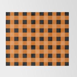 Orange and Black Buffalo Check Throw Blanket