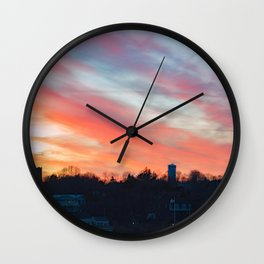 Winter sunset in Rockport Wall Clock